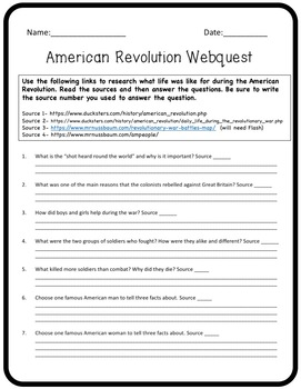 American Revolution Webquest and Project