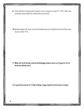 American Revolution - Webquest with Key