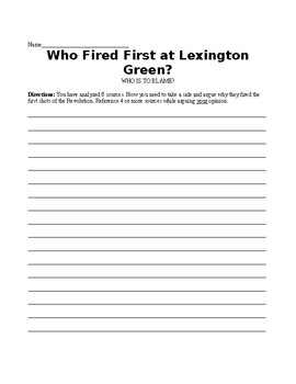 American Revolution: Who Fired the First Shot at Lexington? DBQ