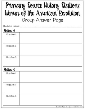 American Revolution Women: Primary Source History Stations