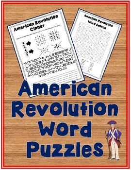 American Revolution Word Puzzles