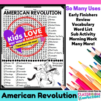 American Revolution Word Search Activity: Revolutionary War Word Search