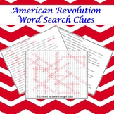 American Revolution Word Search Clues With Answer Keys!
