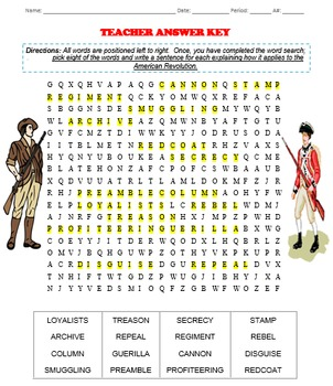 American Revolution Word Search and Definitions with ANSWER KEY