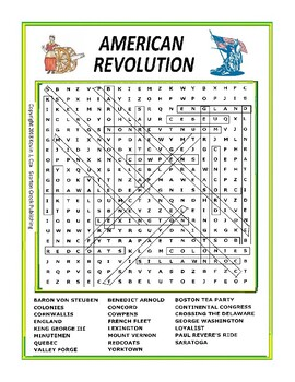 American Revolution Word Search or Wordsearch