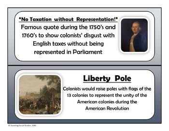 American Revolution Word Wall - 100 Terms/People with Definitions and Images