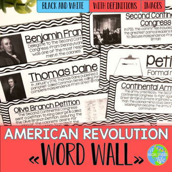 American Revolution Word Wall - Black and White