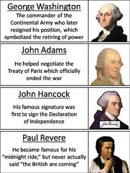 American Revolution Word Wall Cards
