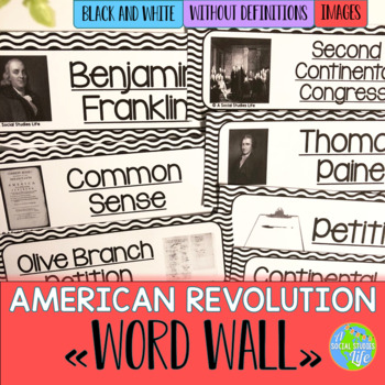 American Revolution Word Wall without definitions - Black and White