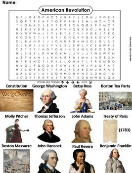 American Revolution Worksheet/ Word Search
