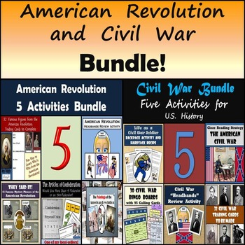 American Revolution and Civil War Bundle: 10 Different Activities - 25% OFF!