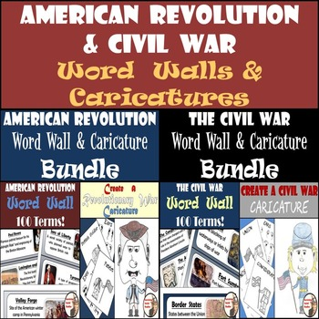American Revolution and Civil War Bundle - Word Walls and Caricature Creations