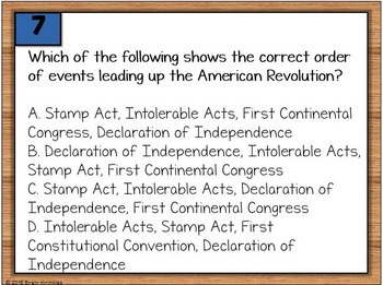 American Revolution and U.S. Constitution Warm-Ups