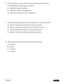 American Revolution common assessment (week 8 lesson plans)