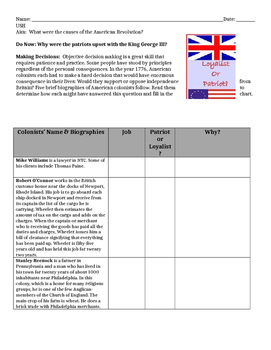 American Revolution facts and activities