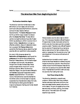 American Revolution (from beginning to end) Reading and Questions