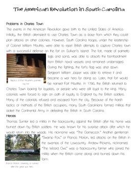 American Revolution in South Carolina Close Read