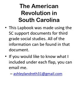 American Revolution in South Carolina Lapbook