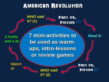 American Revolution mini-games for warm-ups, review and more