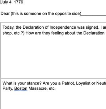American Revolution narrative letter