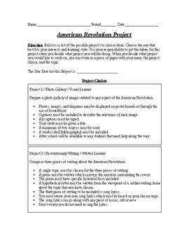American Revolution project based on learning style