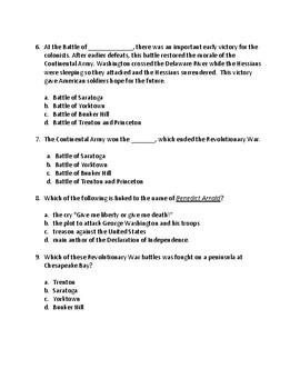 American Revolution test Major Events and Key Figures 4th Grade Social Studies