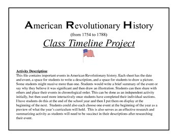 American Revolutionary History class timeline project