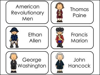 American Revolutionary Notable Men Picture Word Flash Cards.