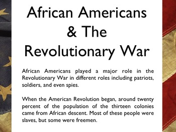 American Revolutionary War - African Americans In The War PowerPoint