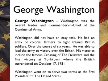American Revolutionary War - American Generals & Military Leaders PowerPoint