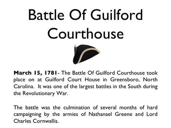 American Revolutionary War - Battle Of Guilford Courthouse PowerPoint