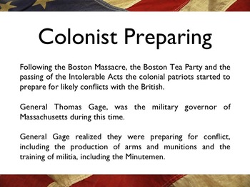 American Revolutionary War - Battle Of Lexington & Concord PowerPoint
