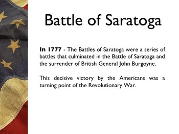 American Revolutionary War - Battle Of Saratoga PowerPoint