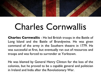 American Revolutionary War - British Generals & Military Leaders PowerPoint