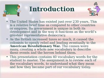 American Revolutionary War - Causes - Vocabulary Exercise