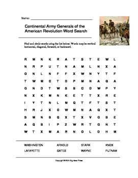 Continental Army Generals of the American Revolution Word Search (Grades 2-5)