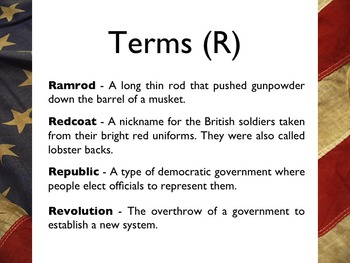American Revolutionary War - Glossary & Terms PowerPoint