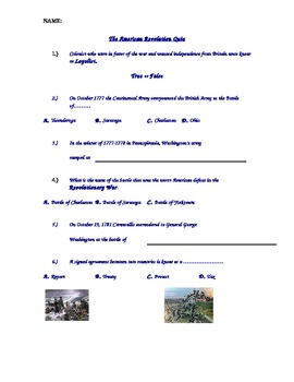 American Revolutionary War History Quiz Formative Assessment Special Education