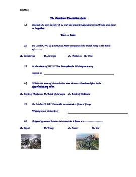 American Revolutionary War History Quiz Formative Assessme