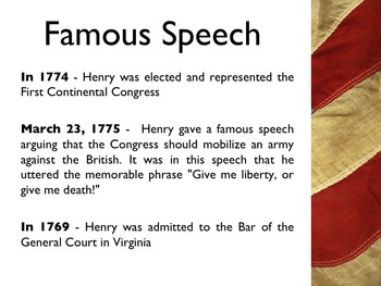 American Revolutionary War - Patrick Henry PowerPoint