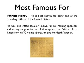 American Revolutionary War - Patrick Henry PowerPoint