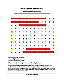 American Revolutionary War Redcoats Word Search (Grades 2-5)