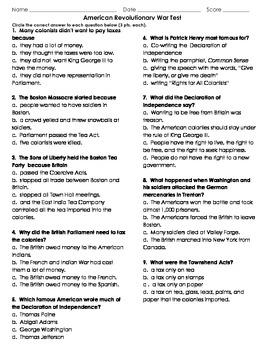 American revolution worksheets grade 4