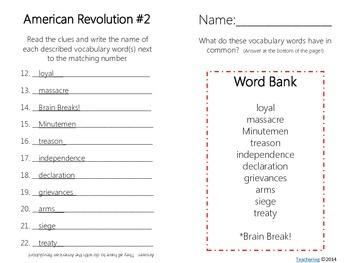 American Revolutionary War Task Cards {& Vocabulary/Definition Match}