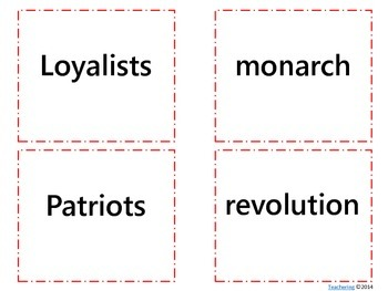 American Revolutionary War Task Cards {& Vocabulary/Definition Match}