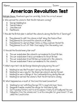 American Revolutionary War Test {Editable}