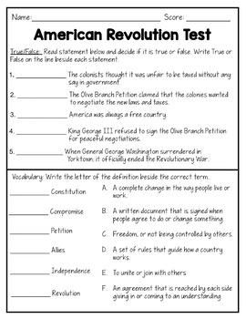 American Revolution: Revolutionary War Test {Editable}