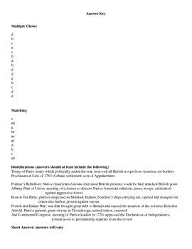 Revolutionary War Test 2 Versions for US History