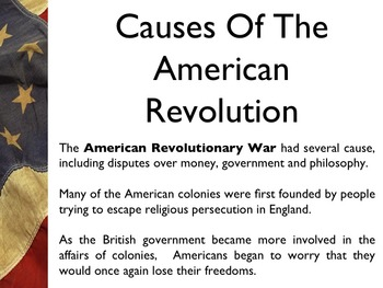 American Revolutionary War - The Causes Of The War PowerPoint