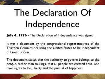 American Revolutionary War - The Declaration Of Independence PowerPoint